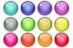 Glatte glänzende Kreisknöpfe auf weißem Hintergrund Stockfoto