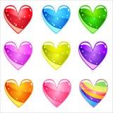 Glatte Herzen der netten Karikatur der Sammlung mit Gelee in den verschiedenen Farben Lizenzfreie Stockbilder
