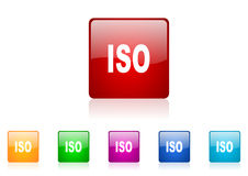 Glatte Ikone des ISO-Quadratnetzes Stockfotos