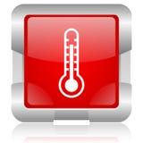 glatte Ikone des Netzes des roten Quadrats des Thermometers Stockfotografie