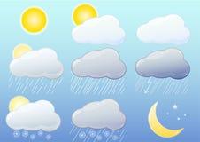 Glatte Ikonen des Wetters Stockfotografie