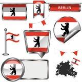 Glatte Ikonen mit Flagge von Berlin Stockbilder