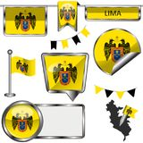 Glatte Ikonen mit Flagge von Lima Lizenzfreie Stockfotografie