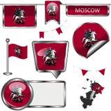 Glatte Ikonen mit Flagge von Moskau Lizenzfreies Stockfoto