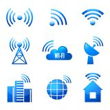 Glatte Ikonen Wi-Fi eingestellt vektor abbildung