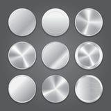 Glatte Netzknopfikonen Metallknopfikonen Lizenzfreies Stockfoto