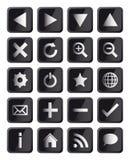 Glatte schwarzes Quadrat-Navigations-Web-Ikonen Stockfoto