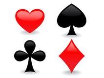 Glatte Spielkarteikonen Stockfoto