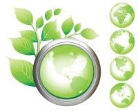 Glatte Tasten des grüne Erde-Symbols. Lizenzfreie Stockbilder