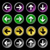 Glatte Web-Ikonen mit den Pfeilen, getrennt im Schwarzen Lizenzfreies Stockbild