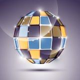 glatter Ball des Spiegels 3D hergestellt von den geometrischen Zahlen Vektor fes Stockfotografie