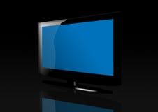 Glatter blauer flacher Bildschirm Fernsehapparat Stockfoto