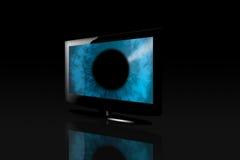 Glatter flacher Bildschirm Fernsehapparat mit Auge Stockfotos