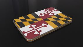 Glatter Flaggengegenstand Marylands 3D lokalisiert auf schwarzem Hintergrund lizenzfreie abbildung