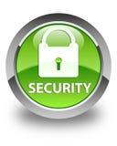 Glatter grüner runder Knopf der Sicherheit (Vorhängeschlossikone) Stockbild