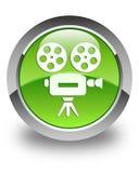 Glatter grüner runder Knopf der Videokameraikone Stockbild