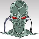 Glatter gr?ner Haut Cyborgkopf stock abbildung