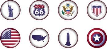 Glatter Ikonen-Satz USA Lizenzfreies Stockfoto