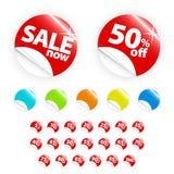 Glatter Kleinaufkleber eingestellt: Verkauf und Rabatt Lizenzfreies Stockfoto