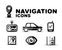 Glatter schwarzer Ikonensatz der Navigation Stockfoto