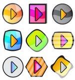 Glatter Spiel-Knopf-Ikonen-Satz Stockbilder