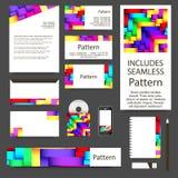 Glatter Streifenvisitenkartesatz Nahtloses Muster Stockbilder