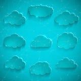 Glatter Wolkenspeichervektorikonensatz Lizenzfreie Stockfotos