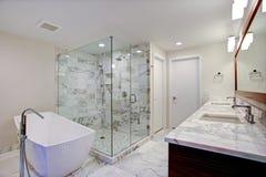 Glattes Badezimmer mit freistehender Badewanne und Weg in der Dusche stockbild