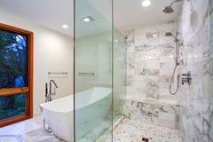 Glattes Badezimmer mit freistehender Badewanne und Weg in der Dusche lizenzfreie stockfotos