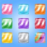 Glattes Geleequadrat des Süßigkeitsknopfes in der unterschiedlichen Farbe Lizenzfreie Stockfotos