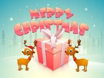 Glattes Geschenk und Rene für frohe Weihnachten stock abbildung