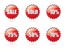 Glattes Verkaufsaufkleberset. Stockfotografie