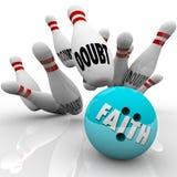 Glaube gegen Zweifels-Bowlingkugel-Religions-Glaubensvertrauens-Hoffnung lizenzfreie abbildung