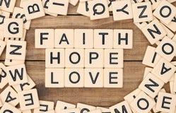 Glaube, Hoffnung und Liebe lizenzfreie stockfotos