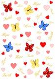 Glaube, Liebe und Hoffnung mit Herzen und Schmetterlingen Stockbilder
