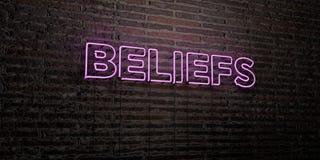GLAUBE - realistische Leuchtreklame auf Backsteinmauerhintergrund - 3D übertrug freies Archivbild der Abgabe lizenzfreie abbildung