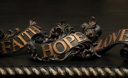 Glauben-Hoffnung und Liebe Stockfotos