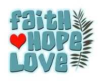 Glauben-Hoffnungs-Liebes-Wörter, mit Herzen und Farn Stockbild