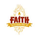 Glauben-Kerzen-Vektor Logo Medallion Lizenzfreies Stockfoto