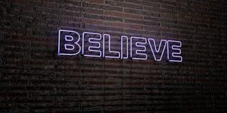 GLAUBEN Sie - realistische Leuchtreklame auf Backsteinmauerhintergrund - 3D übertragenem freiem Archivbild der Abgabe lizenzfreie abbildung