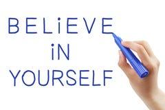 Glauben Sie an selbst stockbild