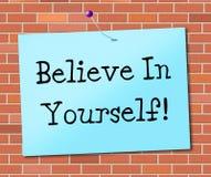 Glauben Sie an selbst darstellt glaubenden Glauben und Vertrauen Stockbilder