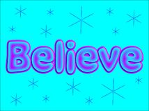 Glauben Sie Wort-Buchstaben Lizenzfreie Stockfotografie
