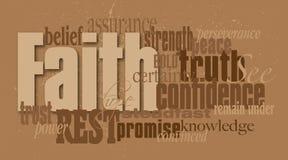 Glauben-Wort-Grafik-Montage Stockfotografie