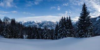 View of a winter landscape in Obwalden, Switzerland, taken at the Glaubenberg stock photo