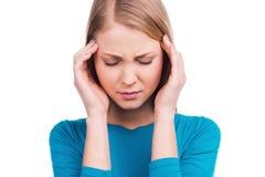 Glaubende schreckliche Kopfschmerzen Lizenzfreies Stockfoto