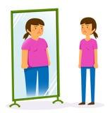 Glaubendes Fett der jungen Frau Lizenzfreie Stockfotografie