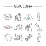 glaucoma Línea iconos fijados Imagenes de archivo