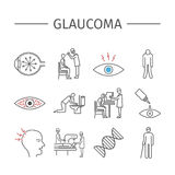 Glaucoma. Line icons set. Stock Images