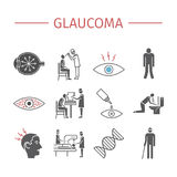 Glaucoma. Symptoms, Treatment. Flat icons set. Vector signs Stock Image